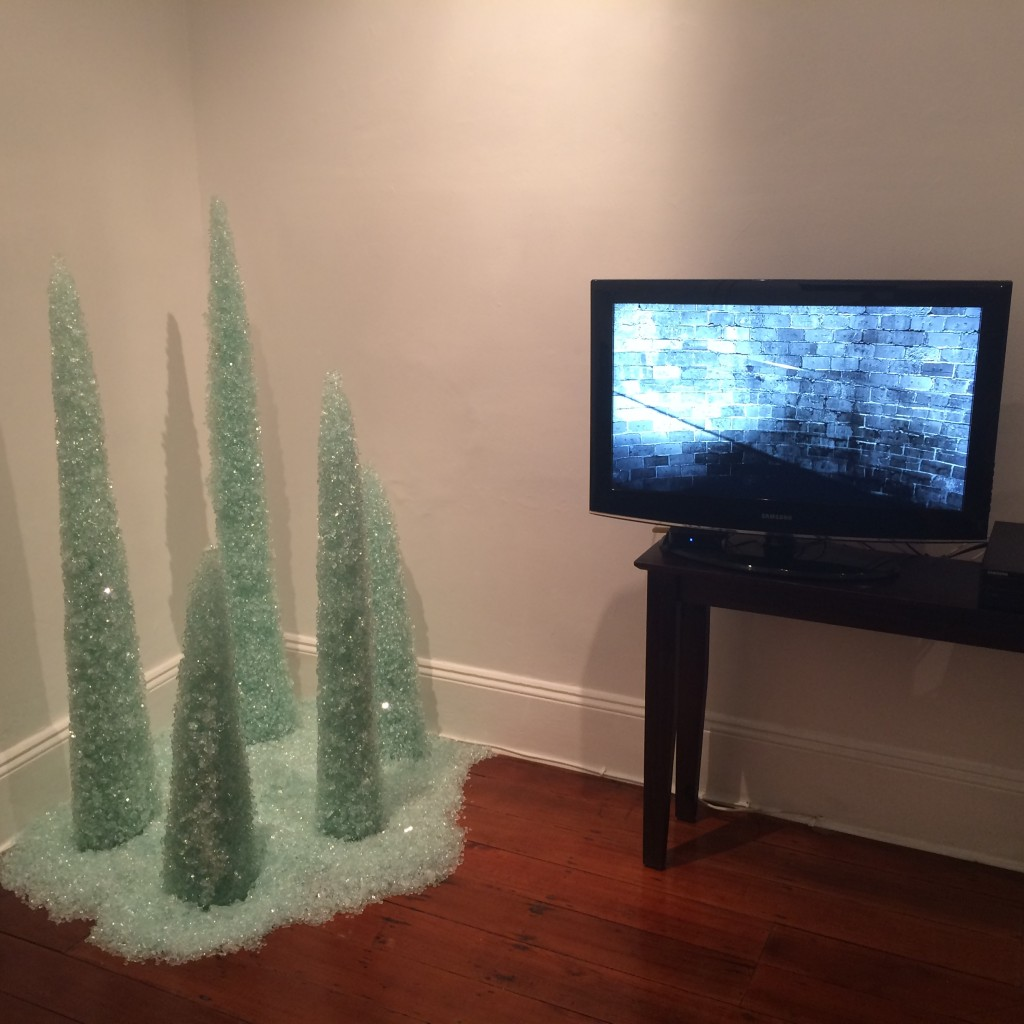 'Distopian Spires' glass installation and 'A lightness of Being' video work by Ngaio Fitzpatrick