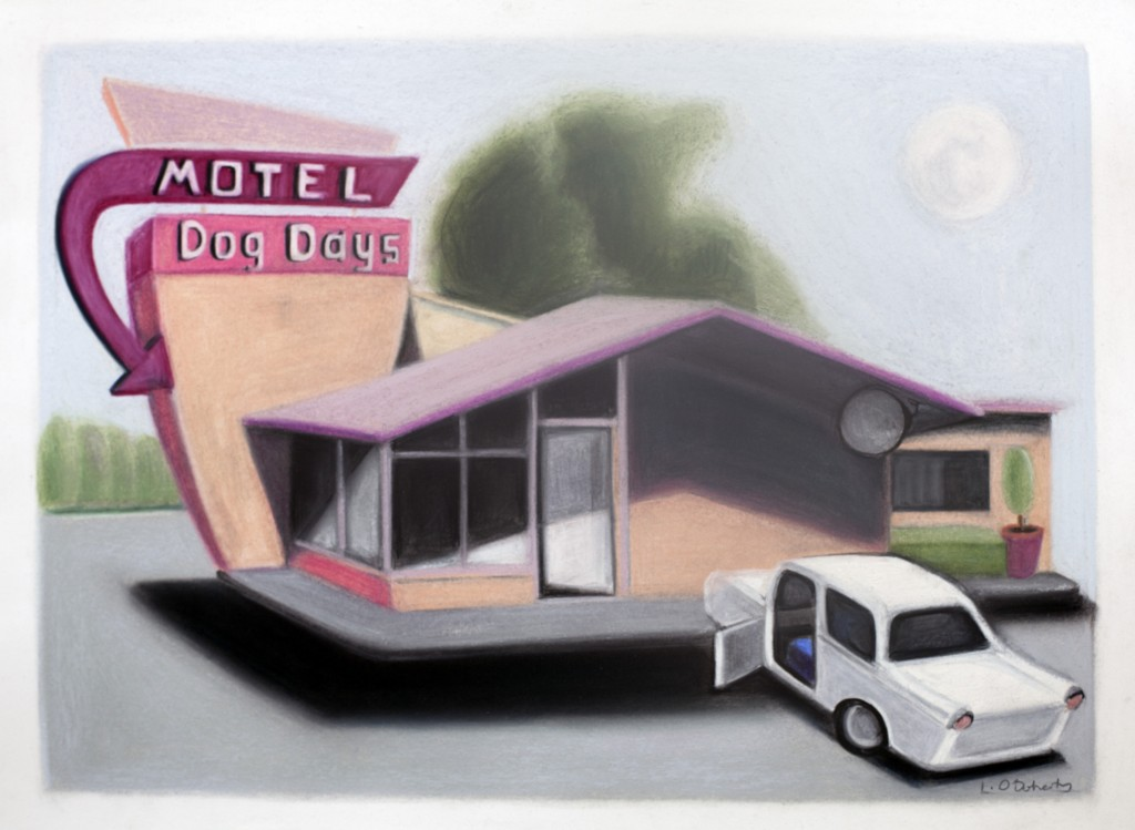 Lucy O'Doherty, Dog Days Motel, pastel on paper, 2014