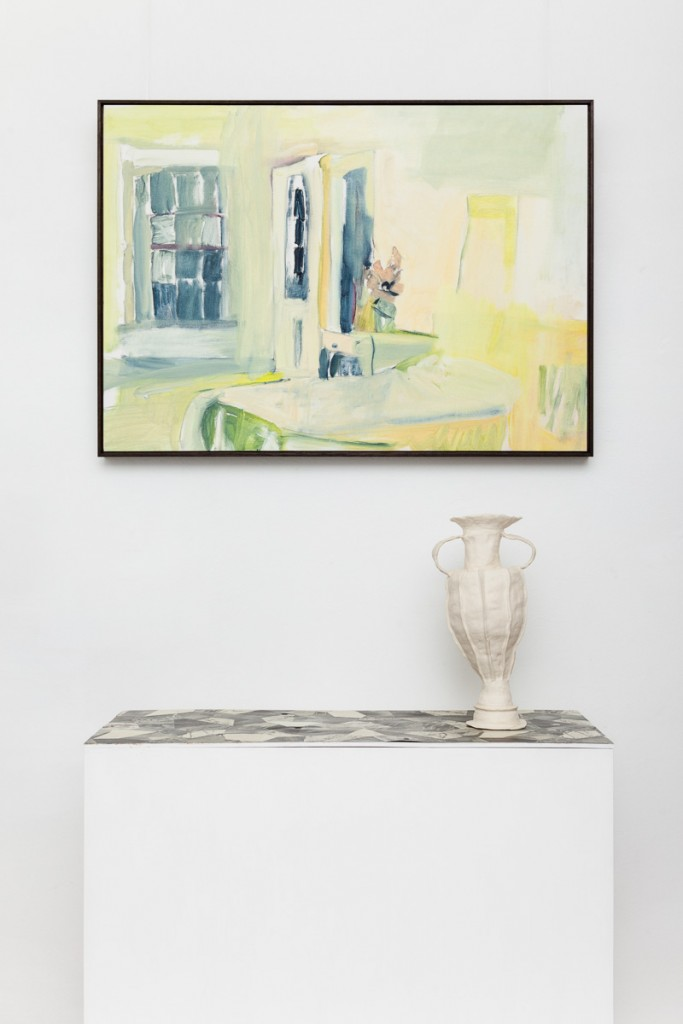 Tanagras Archive: The Discrete Charm of the Bourgeoisie, oil on paper, 600 x 800mm, plinth with printed linoleum, stoneware glaze fired ceramic vase, 2015 (dimensions variable) Photo: Brett East