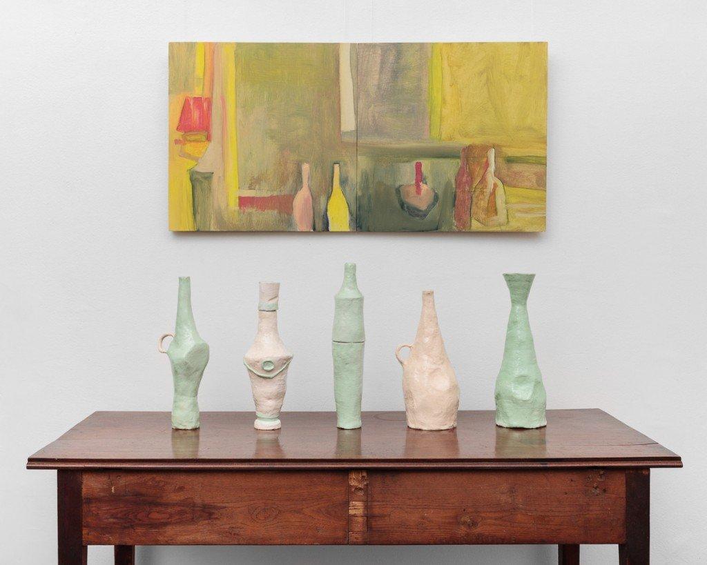 Still Life with Still Lives, 2016, oil on board and ceramics