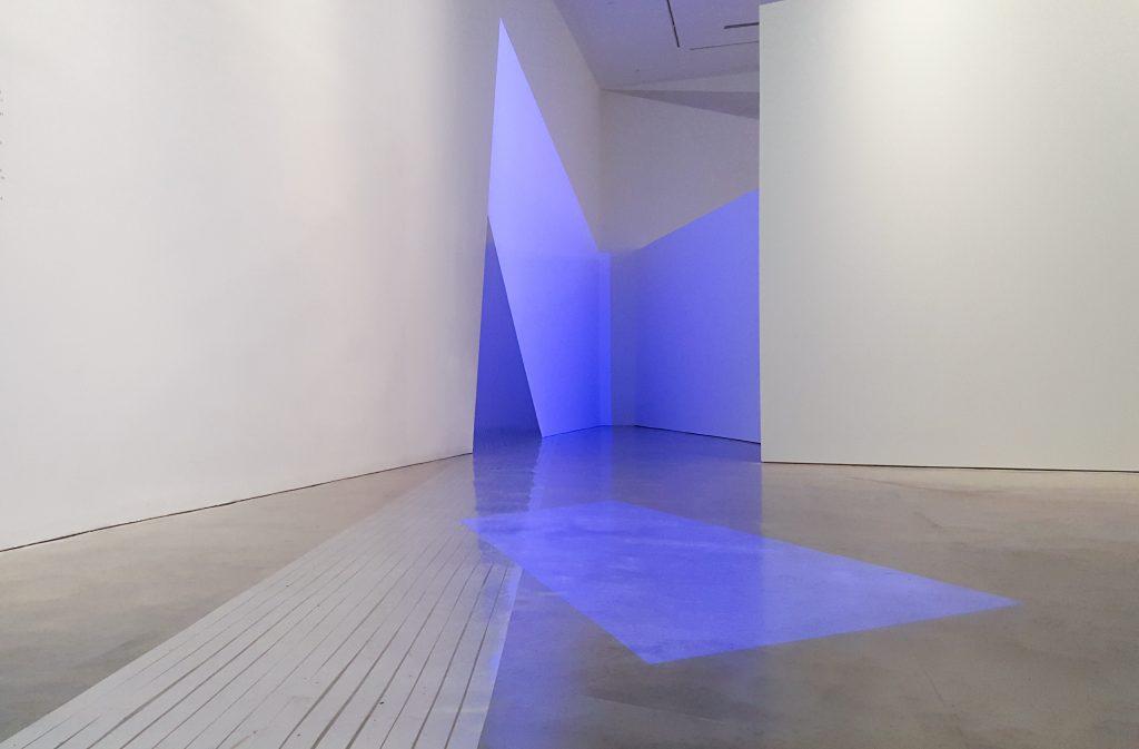 Biljana Jančić,A Beach (Beneath), 2016, installation view,Primavera 2016: Young Australian Artists, Museum of Contemporary Art Australia, Sydney, 2016, silver tape, projections